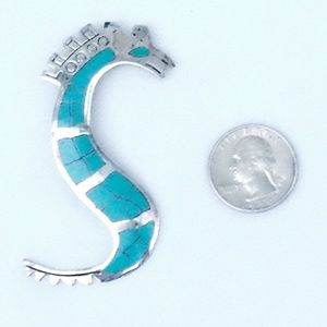 Vintage Signed Taxco Sterling & Turquoise Seahorse